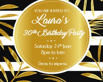Printed Personalised 40th (or any age) Birthday Party Invitations X10