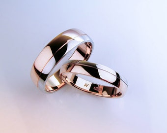 Wedding Bands Women, Wedding Band Mens, Two Tone Wedding Rings, Wedding Rings His and Hers, Wedding ring set, Wedding Band Set, 14K Gold