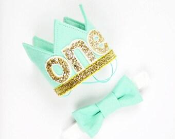 First Birthday Crown of Felt | 1st Birthday Boy Outfit for Cake Smash | Baby Boy First Birthday Outfit | 1st Birthday Hat | Mint Gold