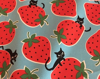 Kokka - Kitties & Strawberries Blue - Cotton Oxford