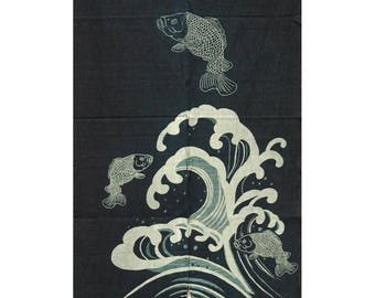 """traditional cotton noren, door way curtain. Koi jumping over wave (WE05-149) 35""""W x 59""""L"""