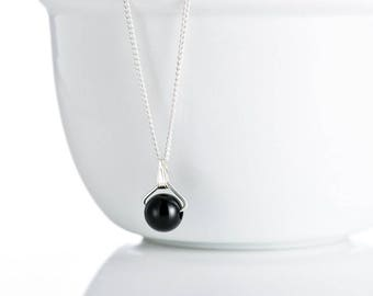 Black Agate  Semi- Precious Gemstone Single Bead Sterling Silver Pendant Necklace with  Extendable Chain -  FREE SHIPPING GG4 - P22
