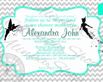 Peter pan baby shower invitation, Neverland Baby Shower,Tinkerbell and Peter Pan,Printable Invitation