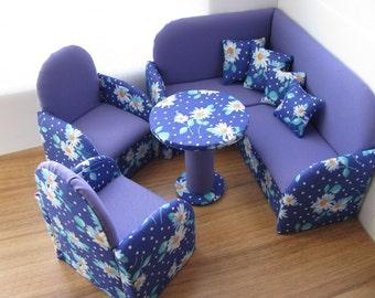 Upholstered Doll Furniture, 12 inch doll furniture, Corner Doll Sofa, Set of furniture for dolls, Doll living room set, Toys for girls