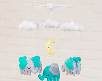 Elephants with Stars and Clouds Mobile, Baby Mobile, Mobile, Nursery Mobile, Nursery Decor, Felt Mobile, Crib Mobile, Teal Mobile