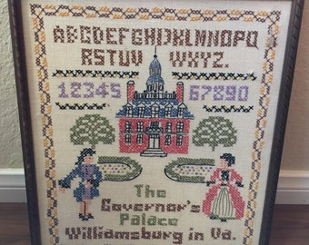 Vintage Cross Stitch Sampler of the Historical Governor's Palace in Williamsburg Virginia