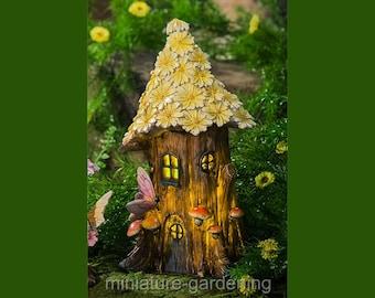 Summer Petals Solar Fairy House for Miniature Garden, Fairy Garden