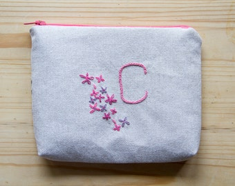 Hand Embroidered Monogram Personalised Zip Purse