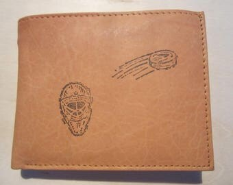"Mankind Wallets Men's Leather RFID Blocking Billfold w/ ""Hockey Mask & Puck"" Image~Makes a Great Gift!"