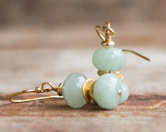 Aquamarine Drop Earrings in Silver or Gold, March Birthstone, Drop Earrings,  Gemstone Earrings,