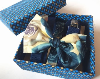 Mens bow tie and braces gift set