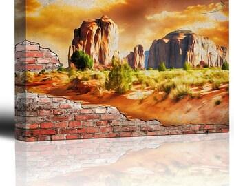 Wall26 - Painted Desert brick wall mural - Canvas Art Home Decor - 12x18 inches