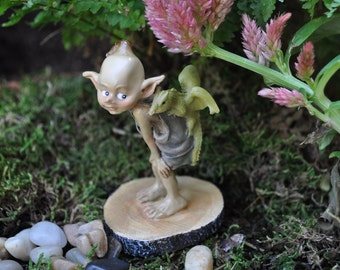 Garden Pixie with Baby Dragon+Fairy Garden Statue+Fairy Garden Miniature+Fairy Garden Supply