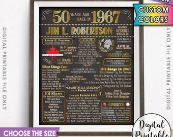 50th Birthday Gift 1967 Poster CANADA Flashback 50 Years Ago Born in 1967 Birth 50th B-day Gift Chalkboard Style Digital Printable File