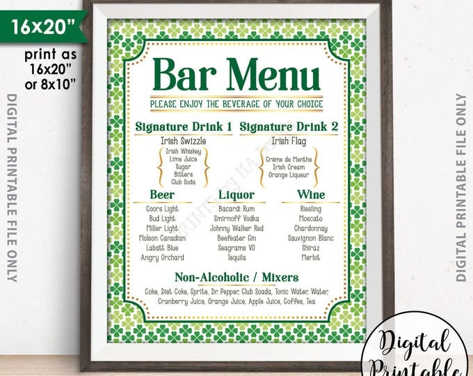 "Bar Menu Sign, St. Patrick's Day Party Drink Menu Sign, St. Patrick's Day Party Sign, Shamrock Menu, 8x10/16x20"" Digital Printable File"
