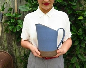 STUDIO SALE // Cornflower Blue Pitcher, Handmade Pottery Pitcher, Stoneware Ceramic, Water Jug, Large Ceramic Pitcher, Blue