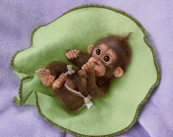 Ashton Drake - Cuddly Cuties Baby Monkey doll by Cindy Sales - LOVE YOU BUNCHES