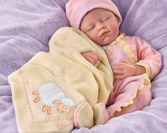 Ashton Drake - Counting Sheep Weighted Poseable Lifelike Baby Girl Doll by Marissa May
