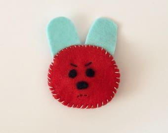 Cute Rabbit Brooch/Cute Rabbit Pin/Cute Rabbit Badge/Bunny Brooch