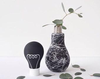Black and white marble lightbulb glass vase - handpainted monochrome