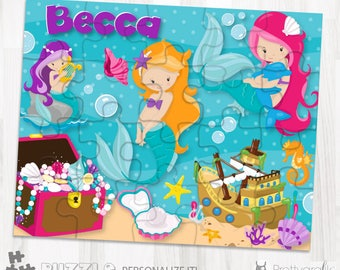 SALE Mermaid personalized puzzle, 20 pieces puzzle, name puzzle, Personalized name puzzle, Kids Personalized Gift - PU117