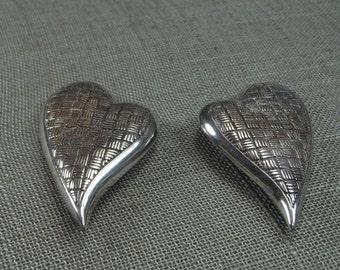 Vintage Sterling 925 Large Clip Earrings Quilted Modernist Heart Design 30g
