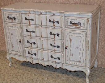 Vintage Shabby Cottage Chic French Provincial Style Accent Cabinet