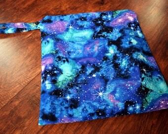 Large Galaxy Wet Bag~Bikini bag, Baby, Swim, Travel, Diaper, or Beach Wash Bag~ Dry Bag~ Reuseable PUL Bag