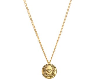 Re-worked Gold Vintage Button Cheap & Chic Heart Moschino Necklace Unisex Scroll