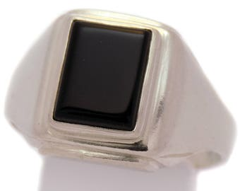 Stunning Massive Solid 925 Sterling Silver Black Onyx Men's Ring Great Vintage Stylish Impressive Classic Handmade Handcrafted Design