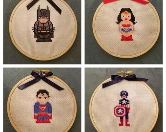 Handmade with Love Cross Stitch Super Hero Wall Hanging Decoration