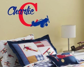 Personalized, Initial, Name, Airplane, Flying, Sky, Vinyl, Wall, Decal, Bedroom, Nursery, Children, Boy