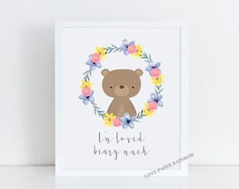 i'm loved beary much, i love you beary much, bear nursery print, bear nursery decor, animal nursery, woodland animal theme, bear art