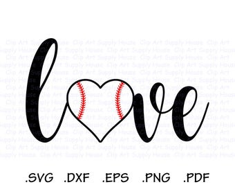 I Love Baseball, Baseball Heart, Baseball Love SVG Design, Sports Design Element, Cricut, Scan n Cut, Silhouette, DXF File, EPS File - CA427