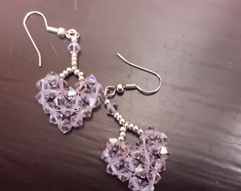 Valentine beaded heart earrings, pinkish lavender, dangling,  silver or gold wire, 4mm Swarovski crystals, seed beads, wedding, bridal