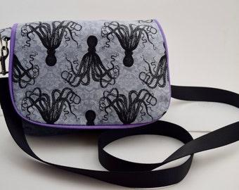 Small Cross body octopus purse, purple and gray felt octopus purse, fabric everyday purse,