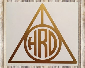 """Personalized Harry Potter """"Deathly Hallows"""" Inspired Monogrammed Decal (By WIDTH)"""