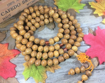 Natural Nepal Polish Phoneix eye Bodhi Seeds 108 11mm wood Buddha Prayer Beads Bracelet Meditation Japa Mala Necklace Buddhism AFY022
