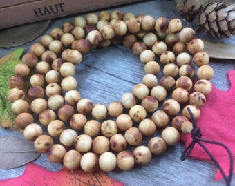 108 8mm Natural Light Yellow Thuja sutchuenensis Rosewood Precious Buddha Japa Mala Prayer Beads necklace