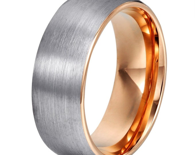 8 mm Rose Gold inlay Round Domed Shape Brushed Tungsten Ring Wedding Band - Comfort fit