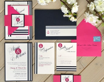 Nautical Wedding Invitations, Navy and Hot Pink Wedding Invitations, Navy and Pink Nautical Invitations, Navy and White Stripe