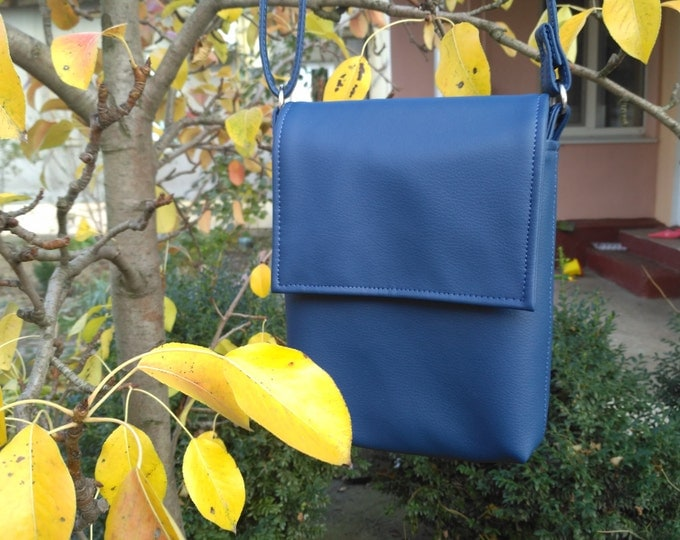 Crossbody mini, Blue bag, Vegan Leather bag, Unisex bag, Messenger bag