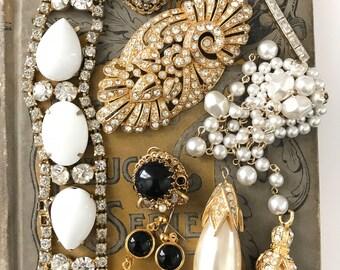 Vintage Rhinestone Jewelry For Repurpose, Broken Jewelry Lot for Assemblage, Rhinestone Upcycle Lot