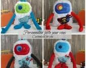 Custom order for Hug Monster,monstre à câlins,personnalized handmade plush,Stuffed Monster,perfect gift for boy,baby shower or birthday