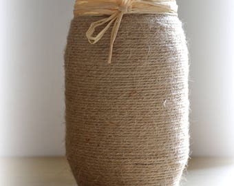 Hemp twine glass vase, rafia