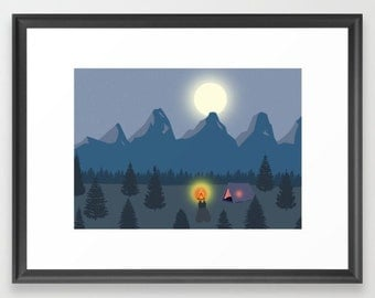 FRAMED Camping bonfire FRAMED poster-Forest mountains FRAMED print-Full moon print-Starry night wall art-Colourful print-Cool Large print