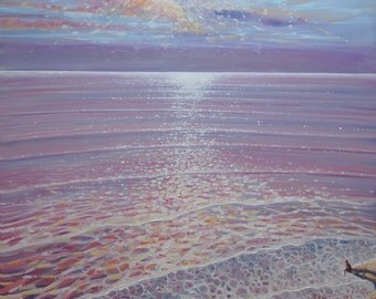 LARGE ORIGINAL Oil Painting - A New Perspective - sunset seascape painting