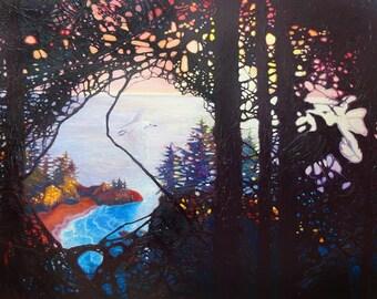 LARGE ORIGINAL Oil Painting - Breaking Through - a large mystical landscape