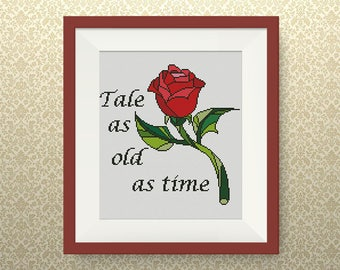 BUY 2, GET 1 FREE! The Enchanted Rose cross stitch pattern, Beauty and the Beast, Instant Download, Disney Princesses cross stitch, #P284