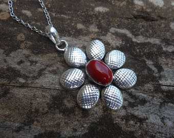 """Sterling Silver Natural Red Coral Pendant Necklace - STERLING Silver 18"""" chain - Boho Chic Necklace - Natural Stone Pendant"""